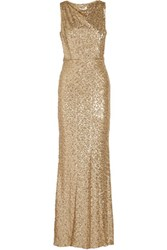 Badgley Mischka Draped Sequined Tulle Gown Gold