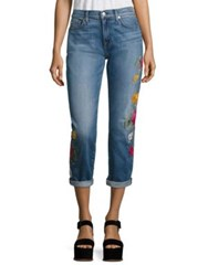 7 For All Mankind Josefina Embroidered Cuffed Boyfriend Jeans Rose Garden