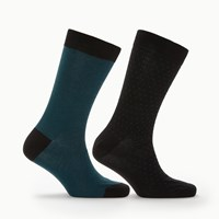 John Lewis Made In Italy Birdseye Fine Stripe Socks Pack Of 2 Black Tuquoise Black Tuquoise