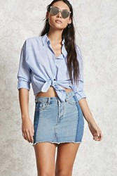 Forever 21 Colorblocked Denim Mini Skirt