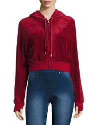 Highline Collective Zip Up Velour Cropped Hoodie Red
