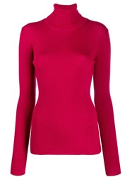 Closed Roll Neck Fitted Sweater Pink