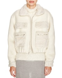 Diane Von Furstenberg Plush Bomber Jacket Winter White