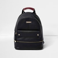 River Island Womens Black Leather Look Top Pocket Backpack