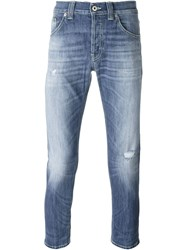 Dondup Stonewash Effect Cropped Slim Fit Jeans Blue