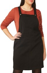 Evans Plus Size Women's Denim Pinafore Dress Black