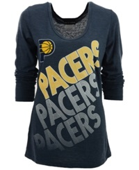 5Th And Ocean Women's Long Sleeve Indiana Pacers Scoop Neck T Shirt Navy