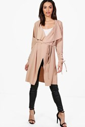 Boohoo Rebecca Ruched Sleeve Belted Duster Stone
