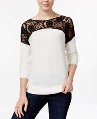 Maison Jules Lace Contrast Top Only At Macy's Egret
