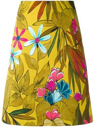 Eggs Floral Print A Line Skirt Women Cotton Spandex Elastane 42