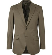Richard James Army Green Stretch Cotton Twill Suit Jacket Green