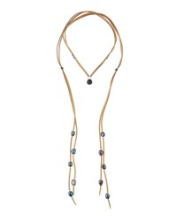 Nakamol Long Suede And Pearl Lariat Choker Necklace Multi