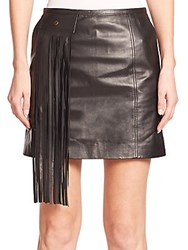 Tamara Mellon Fringe Detail Leather Mini Skirt Black