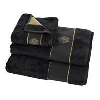 Roberto Cavalli Gold Towel Black Guest Towel