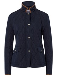 Basler Quilted Jacket With Pleather Trim Navy
