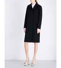 Valentino Single Breasted Wool And Cashmere Blend Coat Blk