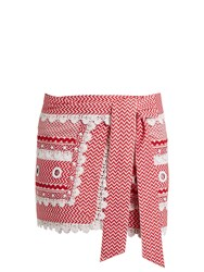 Dodo Bar Or Aviya Eyelet Embellished Mini Wrap Skirt Red White