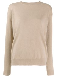 Brunello Cucinelli Long Sleeve Fitted Sweater Neutrals