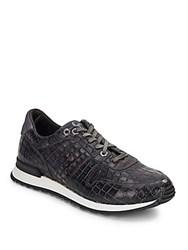 Robert Graham Amazon Reptile Embossed Leather Sneakers Black Croc