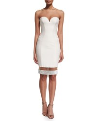 Versace Strapless Sweetheart Illusion Hem Cocktail Dress White Women's Size 46