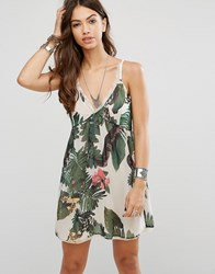 Religion Tropical Slip Dress Nude Cream