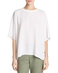 Vince Crepe Silk Rib Neck Drop Shoulder Tee White