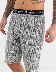 Penguin Jersey Lounge Shorts In Busy Vertical Print In Grey And Black