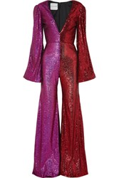 Halpern Two Tone Sequined Tulle Jumpsuit Pink