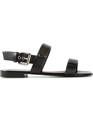 Giuseppe Zanotti Design Silver Plaque Double Strap Sandals Black
