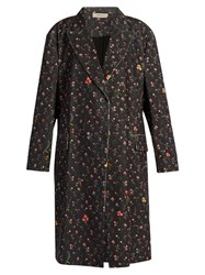 Preen Line Kiki Floral Print Stretch Cotton Cord Coat Black Multi