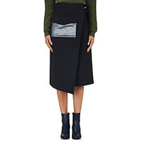 Nomia Women's Wrap Front Crepe Skirt Navy
