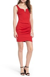 Tiger Mist Ruched Body Con Dress Red