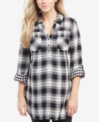 Motherhood Maternity Plaid Shirt Black White Plaid