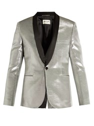 Saint Laurent Satin Lapel Single Breasted Lame Blazer Metallic
