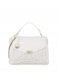 Versace Woven Leather Slouchy Tote Bag White Black Detai