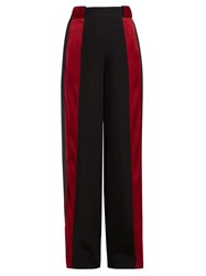 Marni Satin Stripe High Rise Crepe Trousers Black Red