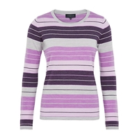 Viyella Graduated Stripe Wool Jumper Lavender