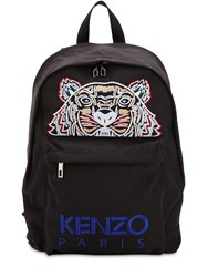 Kenzo Tiger Embroidered Nylon Canvas Backpack Black Multi