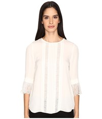 Kate Spade Lace Inset Silk Top French Cream Women's Clothing White