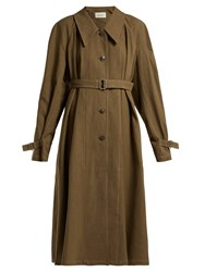 Christophe Lemaire Single Breasted Linen And Cotton Blend Trench Coat Khaki