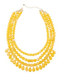 Lydell Nyc Multi Row Beaded Statement Necklace W Dangles Yellow