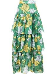 Alexis Tiered Floral Print Maxi Skirt Green