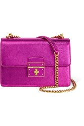Dolce And Gabbana Textured Leather Shoulder Bag Fuchsia