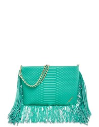 Brian Atwood Nepal Embossed Leather Bag Aqua