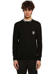 Neil Barrett Wool Blend Knit Sweater W Patch Black