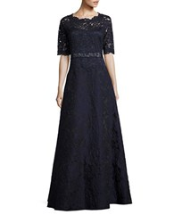 Teri Jon Three Quarter Sleeved Scalloped Lace A Line Gown Navy
