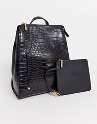 Dune Mock Croc Backpack With Additional Pouch Black