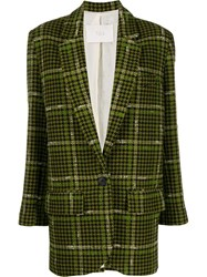 Tela Houndstooth Fitted Blazer Green
