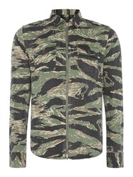 Replay Men's Zip Front Camouflage Print Shirt Multi Coloured Multi Coloured