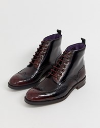 Ted Baker Twrehs Brogue Boots In Burgundy Hi Shine Red